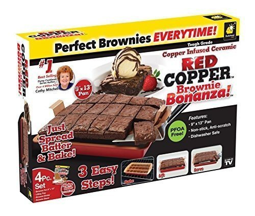 As Seen On TV Red Copper Brownie Bonanza - The Quick & Easy, Non-Stick, Anti-Scratch Brownie Pan