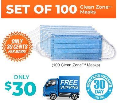 Clean Zone™ Facial Masks (100 set)