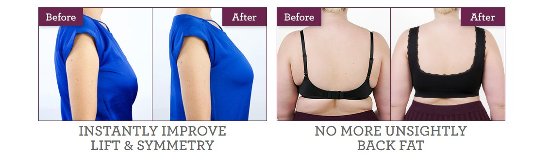 Before and After Wearing the Comfy Corset Bra